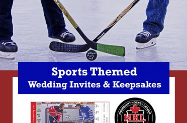 Sports Themed Wedding Invites and Keepsakes