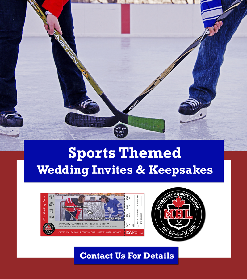 Sports Themed Wedding Invites and Keepsakes