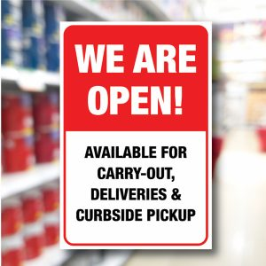 Safety Notice Signs – We are open